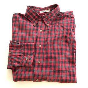 LL Bean Red Plaid 100% Cotton Shirt L-Reg
